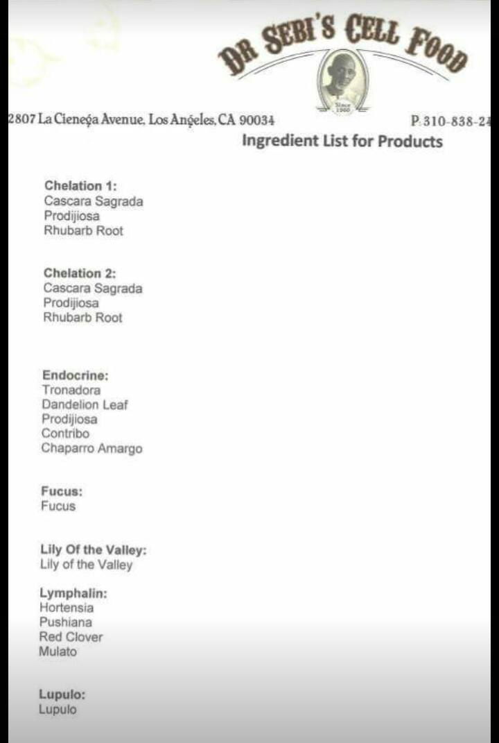 Dr Sebi's Cell Food - list of ingredients